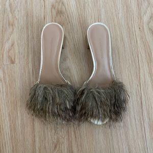 Banana Republic Faux Fur Mules Heels
